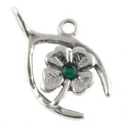 Wishbone And Clover Lucky Sterling Silver Charm